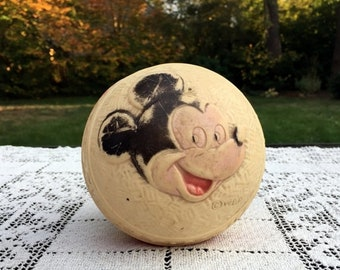 "17% OFF SALE Mickey Mouse 4.5"" Rubber Ball 1940's Sun Rubber Co. Made in USA  Walt Disney Products Collectible"