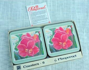 "17% OFF SALE Pimpernel Flower Coasters   Set of 6 Made in England by Pimpernel  80's Vintage  Cork Backed   4"" square   VGCond  Original Box"