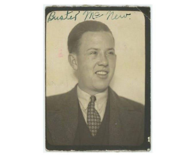 """Vintage PhotoBooth Arcade Photo: """"Buster McNew"""" c1930s (75580)"""