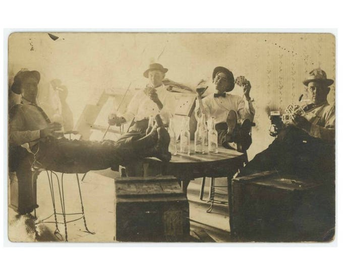 Drinking Beer, Playing Cards, c1910s: Vintage Photo Snapshot RPPC (77592)