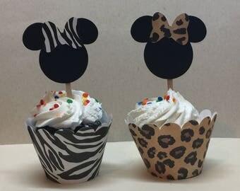Safari Minnie cupcake sets-set of 12