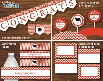 2017 Grad Party Decorations in Red and White, Printable Graduation Party Pack, Red Chevron Party Bundle, INSTANT DOWNLOAD, digital file