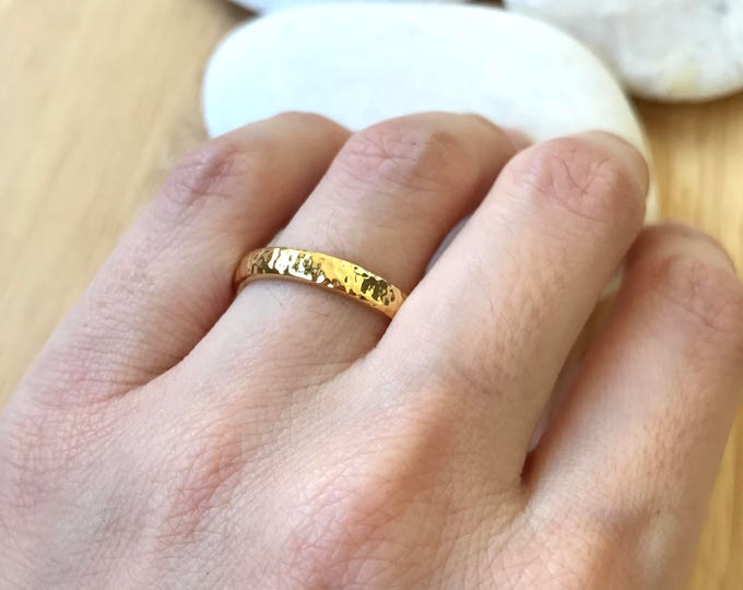 14k Yellow Gold Band- Hammered Wedding Band- 3mm Unisex Wedding Band- His Her Wedding Band- Simple Wedding Band- Men Woman Wedding Band