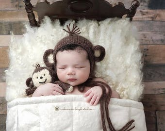 Baby Monkey Bonnet Photo Prop, Knitted, MADE TO ORDER