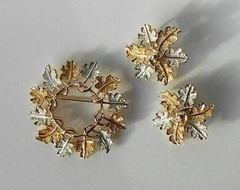Vintage Sarah Coventry Brooch Pin Earrings Garland Wreath Set Demi Parure Gold Silver tone