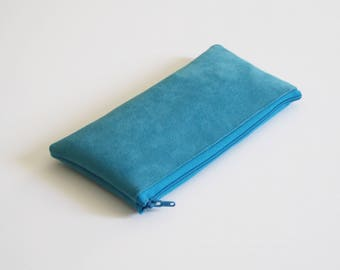 Turquoise pencil case, turquoise pencil pouch, blue pencil case, blue bag, vegan pencil case - Sea