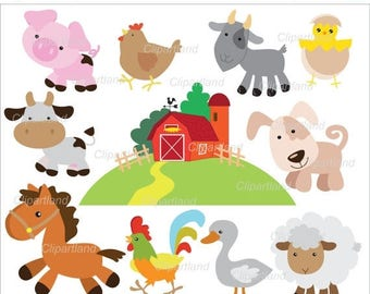 ON SALE INSTANT Download.  Farm animals clip art. Cf_16. Personal and commercial use.