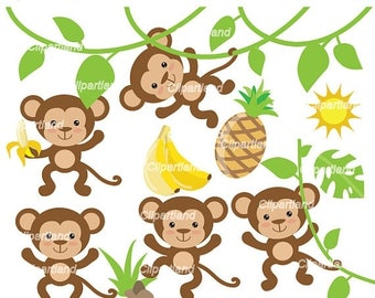 ON SALE INSTANT Download. Cm_13_Monkeys. Cute monkeys clip art. Personal and commercial use.
