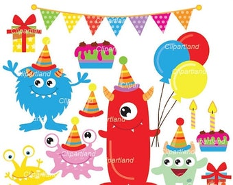 ON SALE INSTANT Download.  Cute birthday monsters clip art. Cm_35. Personal and commercial use.