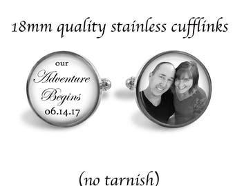 Quality 18mm Stainless Steel Wedding Cufflinks - No Tarnish Cuff links - Wedding - Our Adventure Begins Custom Cuff Links - Accessory