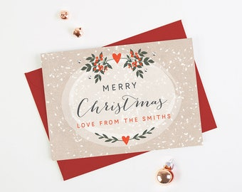 Personalised Christmas Card Berries and Snow - Personalised Holiday Cards