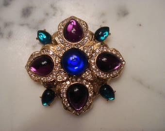 Joan RIvers Blue and Purple Cabochon Brooch