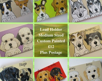 Dog Lead Holder Medium Personalised Pet Portrait Custom Painted up to 2 dogs with 2 hooks