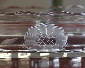 Vintage New Martinsville / Viking Glass Three Part Relish Dish with Hughes Corn Flower Decoration