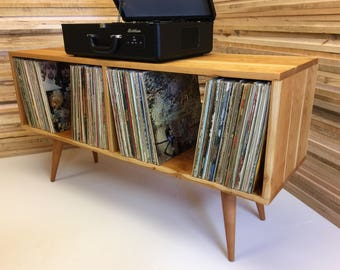 New Mid Century Modern Record Player Console, Turntable Cabinet With LP  Album Storage, Solid