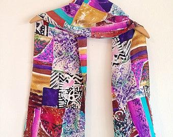 Crazy Colorful Tribal Print Silk Scarf