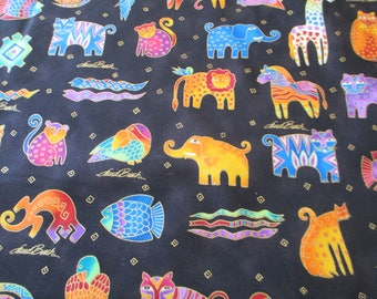 Quilting Weight Cotton Fabric Mythical Jungle  small tossnby Laurel Burch for Clothworks 1 yard