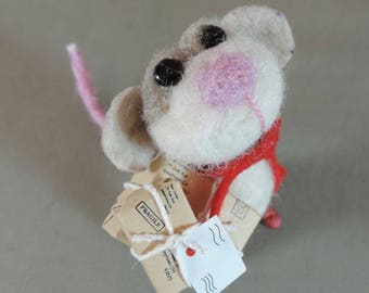 """Needle felted mouse, 3"""" tall,  art doll, tan color mouse with packages"""
