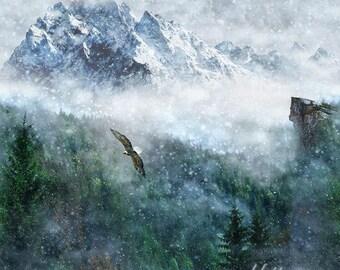 Hoffman Fabric, Call of the Wild, Aspen, Digital Print Panel, Eagle & Mountains, 100% cotton