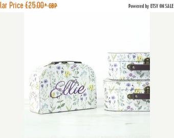 ON SALE Personalised Floral Suitcase Storage Box Trio - Display Decor Craft Decoration Prop P110