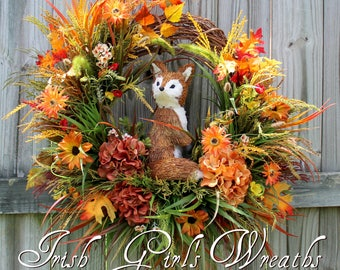 Fox in Fall Meadow Wreath, Rustic decor, Autumn Floral, early Fall Wreath, Fox Decor, Wildflower Decor, everyday door hanging, woodland