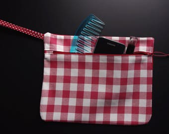ZIPPED POUCH with strap, gingham Plaid, red and white