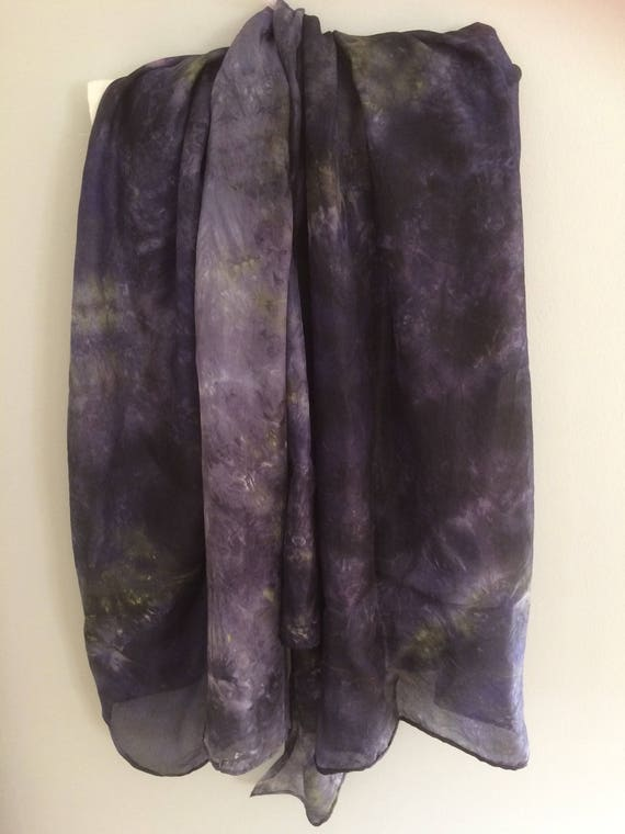 Purple/black silk scarf hand dyed