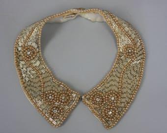 1950s Adorned collar | vintage 50s beaded rhinestone satin collar necklace