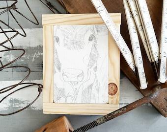 Farmhouse sign-cow sketch on wood framed. Fixer upper style decor. Original art.