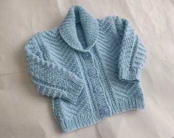 Hand knitted newborn baby cardigan, pale blue cardigan, baby 0-3 months gift, hand knit baby boy sweater, shower gift