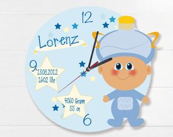 Clock for birth or baptism Zodiac sign Aquarius