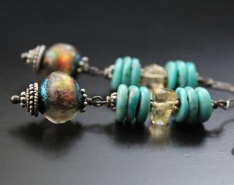 Genuine turquoise earrings with Basha beads and citrine, long boho earrings, gemstone sterling earrings, artisan glass bead earrings