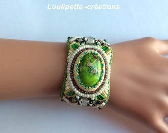 Embroidery with beads and stone Cuff Bracelet