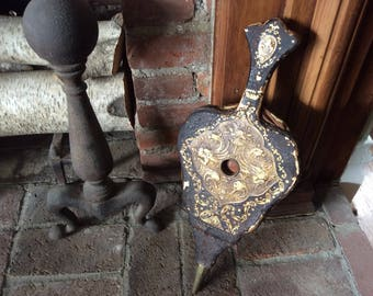 Antique Ornate Wooden Leather Bellows