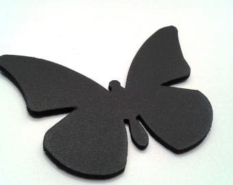 cowhide black leather Butterfly brooch