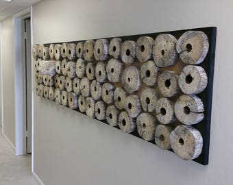 Very large modern abstract wood hanging