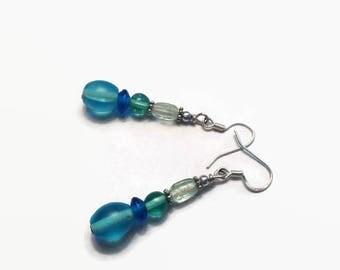 Blue Frosted Dangle Earrings/ Dangle Earrings/ Blue Beaded Earrings
