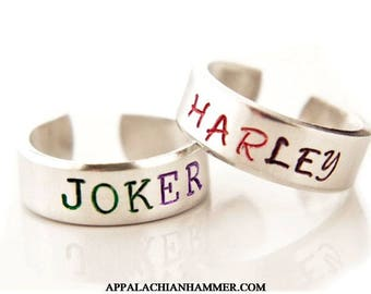 Harley Quinn or Joker Inspired Hand Stamped Adjustable Rings