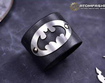 Dark Knight leather bracelet inspired by Batman story