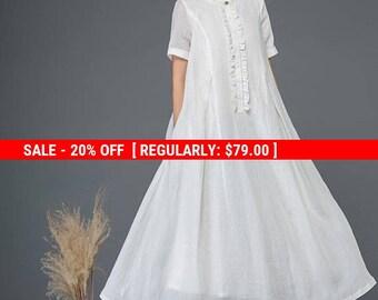 White linen dress, maxi dress, loose dress, summer dress, long dress, flare dress, elegant dress, pleated dress, cute dress, day dress C1161