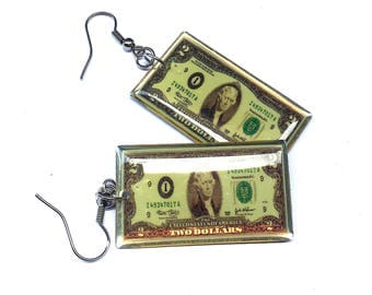 2 Dollar Bill Earrings, C.R.E.A.M Earrings, Money Earrings, U.S Dollar Earrings