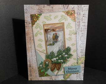 Christmas Card made with Vintage Post Card