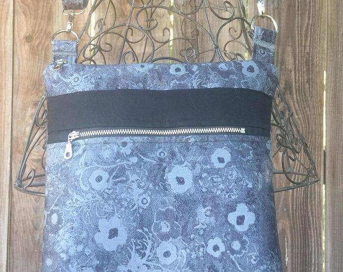 Cross Body Bag, Across The Body Bag, Black Grey Cross Body Purse, Adjustable strap, long handle purse, Travel Purse, Zippered Purse