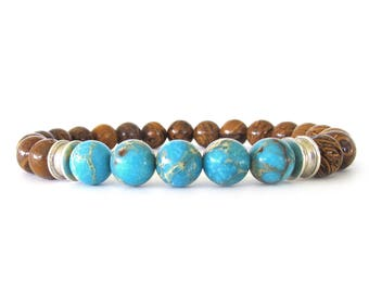 Jasper Men's Bead Bracelet - Men's Gemstone Jewelry - Bracelets for Men - Beaded Stretch Bracelets - Mens Jewelry - Gifts for Him - M06041