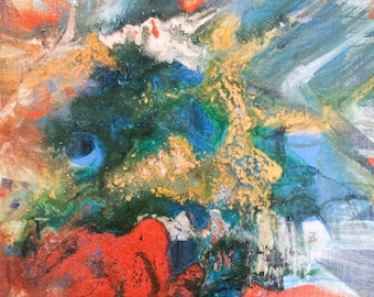 """5"""" x  5"""" - Abstract acrylic painting on cradled wood panel. Title: """"Melting."""" 5"""" x 5"""" painting."""