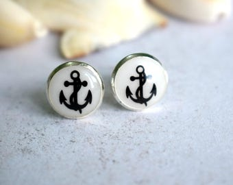 Anchor Studs, Anchor Earrings, Nautical Earrings, Nautical Studs, Beach Jewellery, Summer Earrings, Anchor Jewelry, Beach Studs, Rockabilly