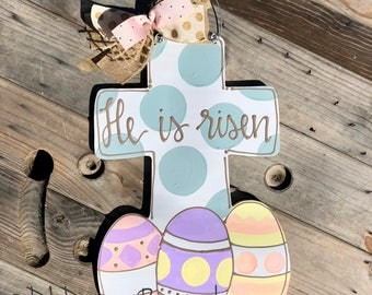 Easter door hanger He is Risen Easter Cross Door hanger