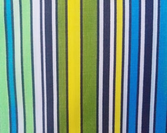 Vintage Striped Fabric, Light Cotton Fabric, Blue, Avocado Green, Lime Green, Yellow, and White,  5 yards long
