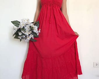 Red ....  Maxi Beautiful  cotton Dress/Summer Dress/Party Dress