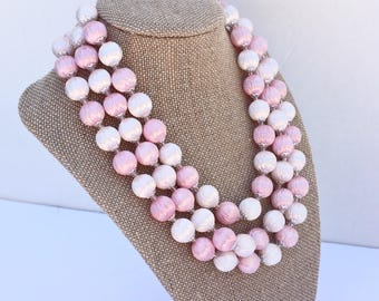 Pink & White Multi Strand Necklace - Vintage Mid Century ''Satin'' Plastic Beads ~ Signed Japan